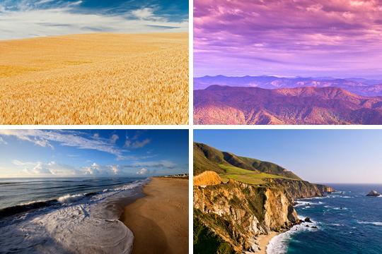 America, Amber waves of grain, purple mountains majesty, above the fruitful plains, sea to shining sea