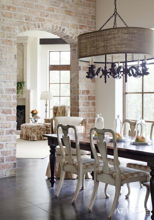 Exposed Brick Wall Dining Room