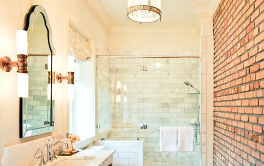 Exposed Brick Brick Wall Traditional Bathroom