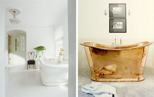 bathrooms, gold, white, gold bathtub