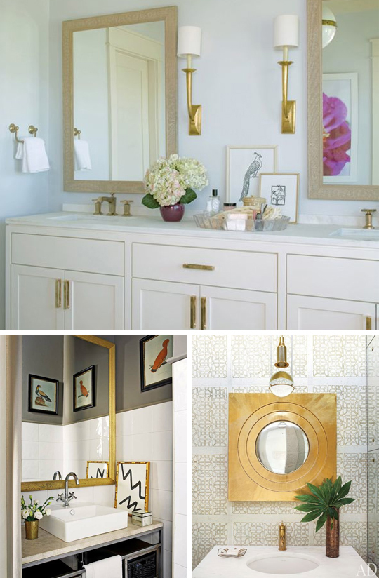 gold, brass, bathroom, white