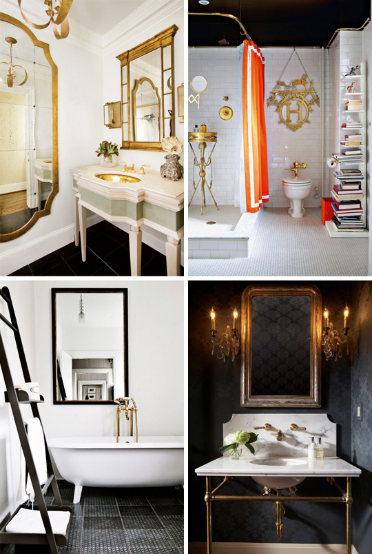 gold, brass, bathroom, powder room, black, hermes