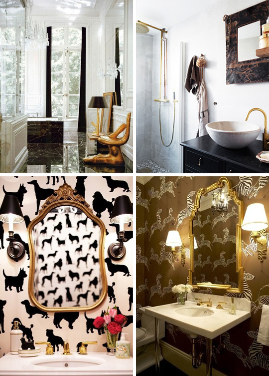 gold, brass, bathroom, powder room, wallpaper, scalamandre