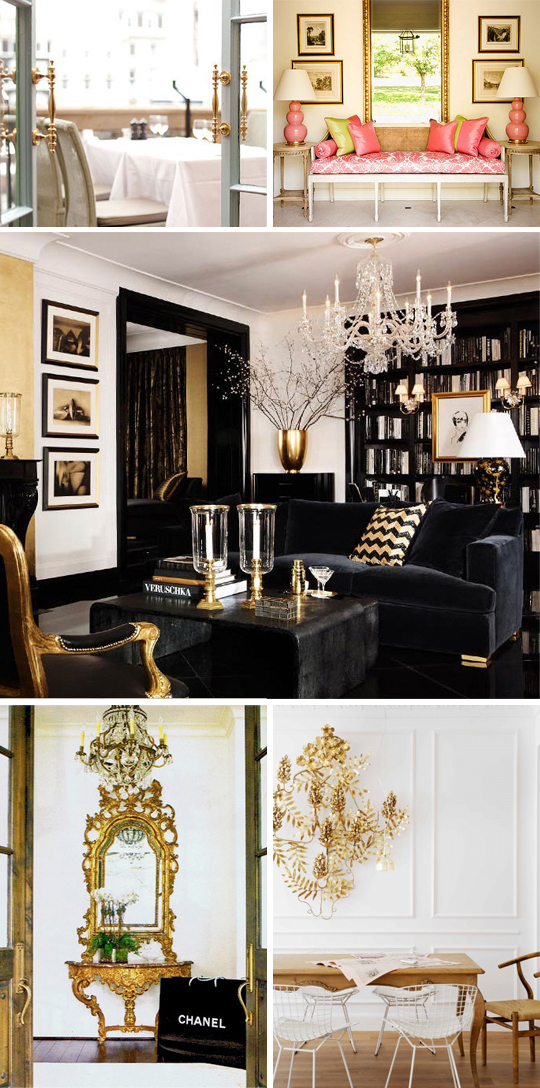 gold, brass, living room, family room