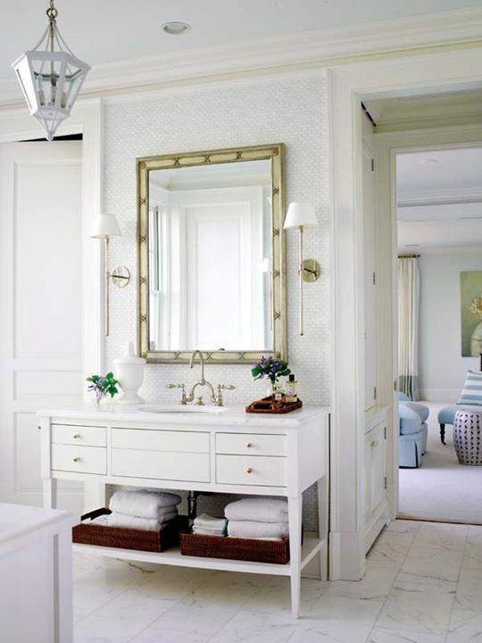 Bright white bathrooms meghan carter for Gold bathroom mirror